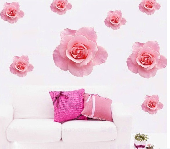 wall sticker flower pink colour removable plastic paper stickers simple bedroom traditional decor kids wall decal