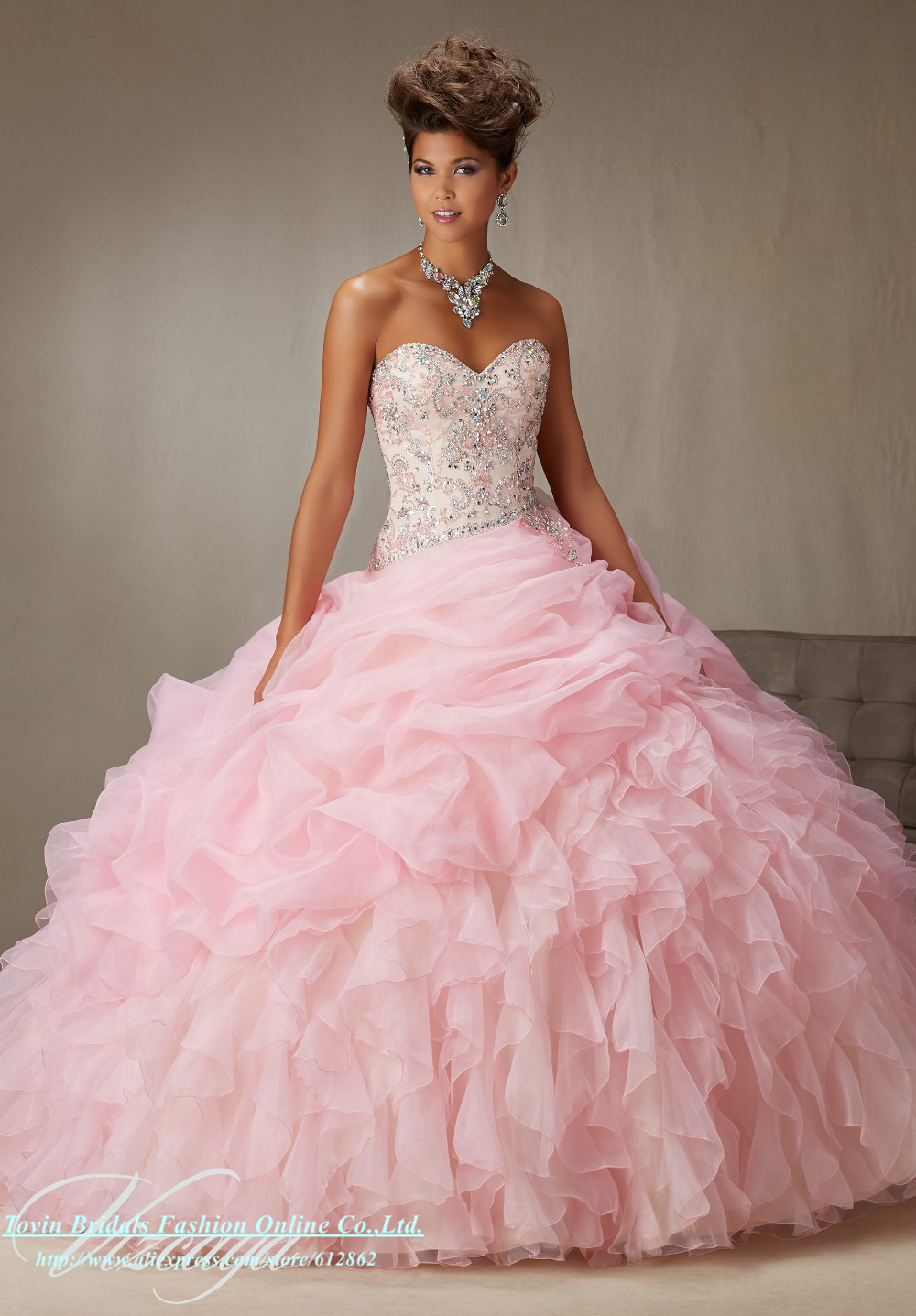 Peach Quinceanera Dresses Customized Ball Gown Pink Red