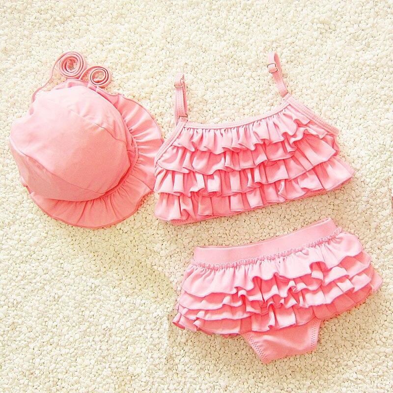 New Girls Swimwear Kids Swimsuit Princess Pink Layered Stitching Two Piece Swimsuits Baby Girl Bikini Set Children Swimsuit