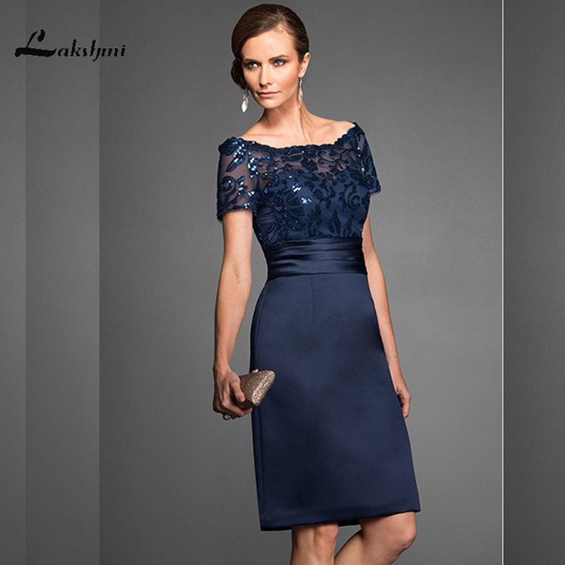 Elegant Navy Scoop Sheath Navy Mother of the Bride Dresses Satin Short Sleeves Sequin Knee Length Wedding Guest Gown Custom Made