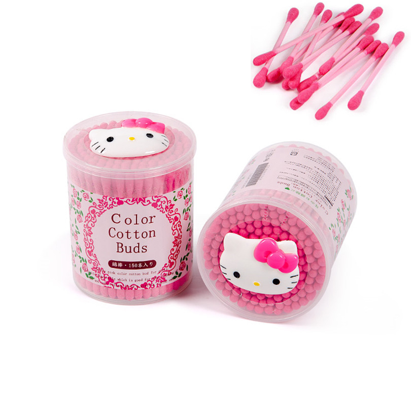 150pcs/pack Disposable Cotton hello Kitty Swab Double Head Ended Clean Cotton Buds Medical Health Make Up Beauty Ear Clean Tools