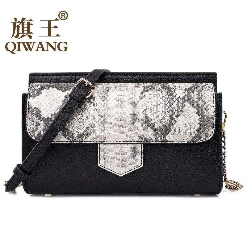 ФОТО QIWANG Summer Handbags Real Leather Women Bag Genuine Leather Python Bag Small Chain Purse France Women Satchel Bag