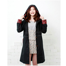 Polyester Trench Coat Style Women Raincoat With Hood Outdoor Waterproof Rainwear Breathable Rain Poncho