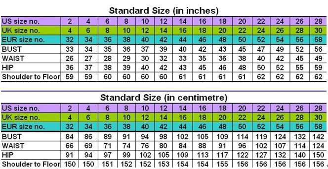 Size chart full bust waist hips hight from shoulder to the floor with heels on total head also custom evening gown formal deb prom party dress wedding rh aliexpress