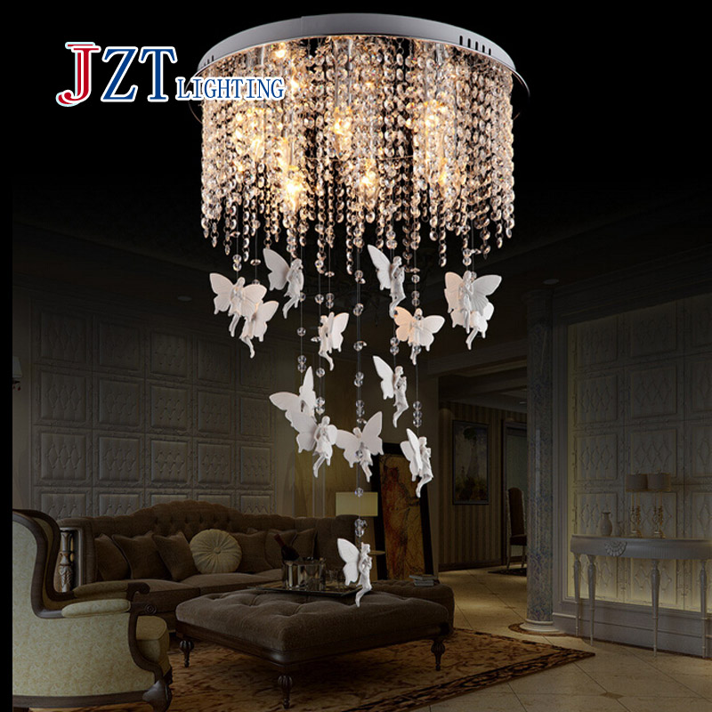 T  Modern Lustre Crystal Chandeliers European Style LED light Angel pendant Creative light for sitting room dining-room hghomeart creative cartoon chandeliers led crystal chandelier kids room luminarias wrought iron lamp lustre suspension