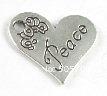 180 шт. тибетское серебро Цвет в форме сердца Мир Шарм a15219