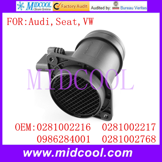 New Mass Air Flow Sensor use OE No 0281002216 0281002217 0986284001 0281002768 for Audi Seat VW