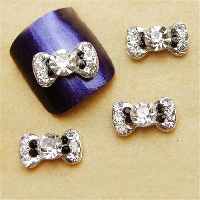 100pcs/lot 3D Black Alloy Rhinestones Bow Tie Nail Art Decorations Glitters Slices DIY