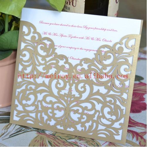 2017 Wedding Invitation Card,laser Cut Blank Pocket Invitation,champagne  Gold U0026 Royal Blue