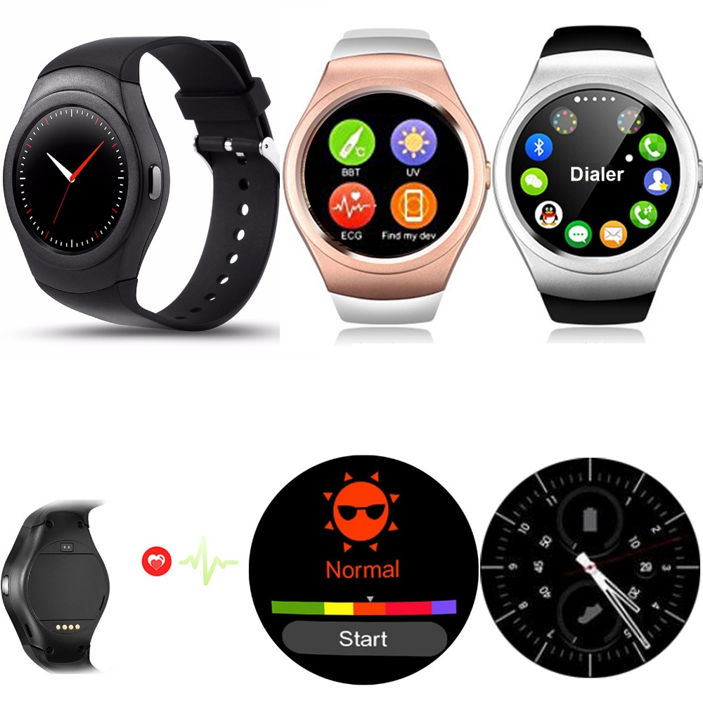 Bluetooth Wrist Smart Watch Phone Round Screen Touch With Heart Rate Monitor UV Testing Pedometer For Android IOS Mobile Phones f2 smart watch heart rate monitor touch screen bluetooth watch compatible with ios android mobile phone partner