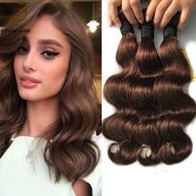 10A Ombre Brazilian Hair Brown Color Wavy Human Hair 3 Bundles  Remy  Weave Sexy Formula Hair Body Wave #4 Natural Color Ocean