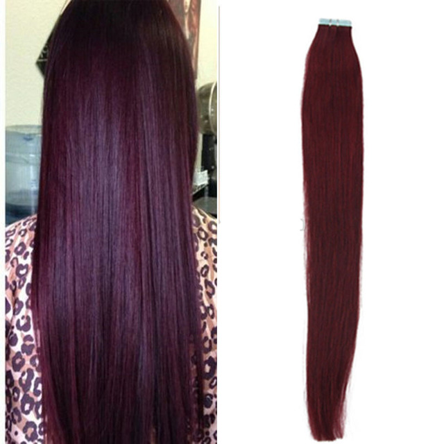 Full Shine 99j Tape Hair Extensions Tape In Human Hair Extensions