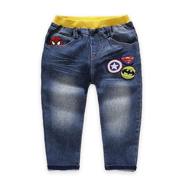 Теплый малыш джинсы эластичный пояс джинсовые брюки для мальчиков хлопок брюки девушки мода детская одежда супергероя детская одежда для 4-7 Т