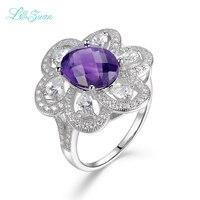 Moda 925 plata esterlina Joyería fina gota de agua azul púrpura amatista anillo de compromiso de las mujeres Joyería fina regalo pierscien