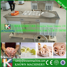 USA and CA popular model double round pan fry ice cream machine with 110V shipping by airport to Edmonton