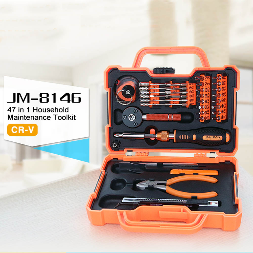 JAKEMY JM-8146 47 in 1 Screwdriver Set Repair Tool Set with Tweezer Pliers Knife Phillips Hexagon Slotted Repair Tool Kit box 14pcs the key with combination ratchet wrench auto repair set of hand tool kit spanners a set of keys herramientas de mano