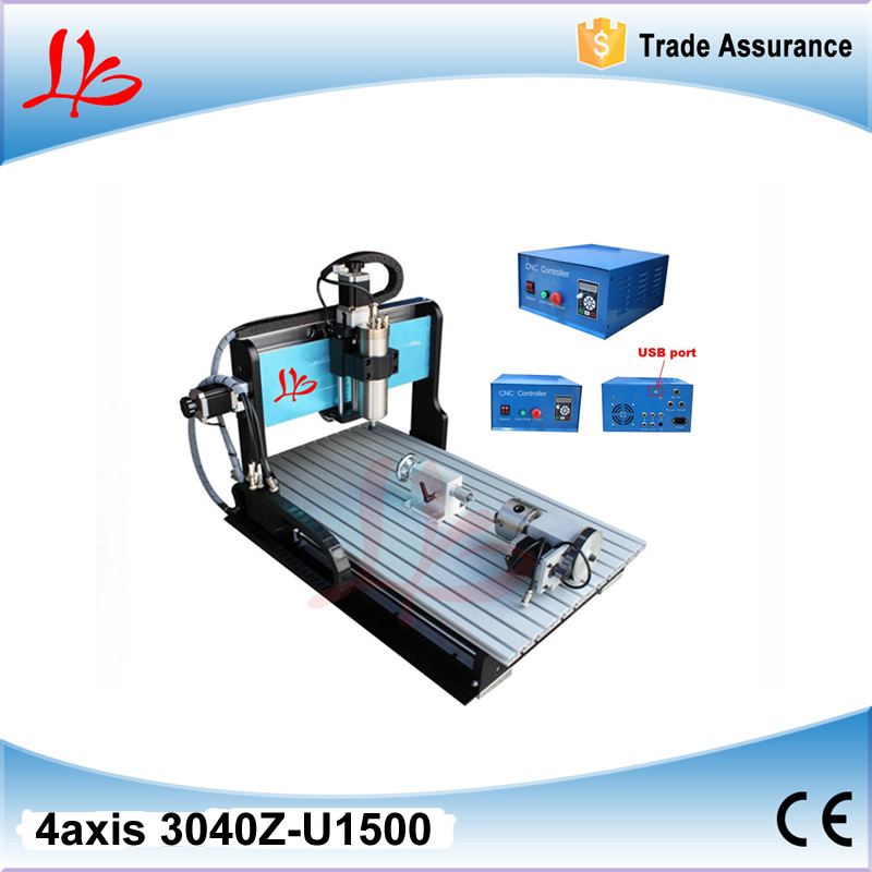 CNC 3040Z-U1500W 4 axis mini cnc router engraver/engraving machine with USB port limit swich and 1500W spindle