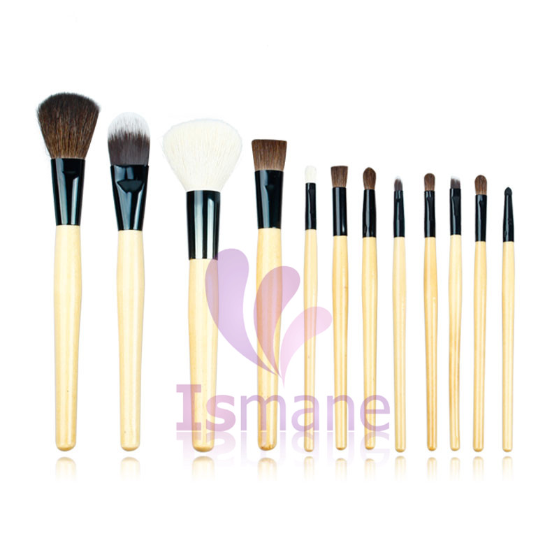 ISMINE 12 Pcs Make up Brush Set Professional Wood Handle Blusher Eyeshadow Makeup Brushes Cosmetic Tool for Beauty with PU Bag 4 pcs golden professional makeup brushes waistline sculpting brush set cosmetic tool maquiagem accessories with original box