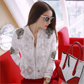 Heavy Nail Drill Sexy Perspective Lace Jacket Short Shirt Air Conditioning Cardigan RM-77