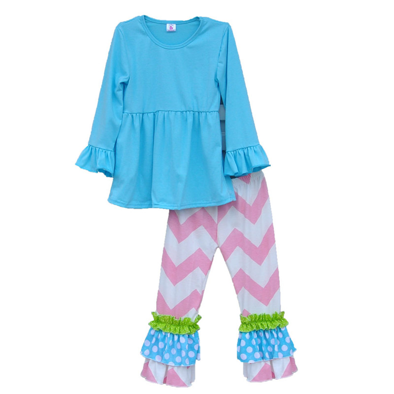 2015 New Fashion Kids Winter Clothing Ruffle Top knitted Cotton Chevron Stripes Pants Children's Sets Boutique Outfit CO002 от Aliexpress INT