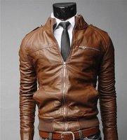 бесплатная доставка мужская обвинение кожи куртка на молнии подойдет тонкий искусственная кожа пальто размер М-XXL прямая поставка Сингапур, j8