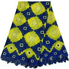 2016 in gelb blau Neuesten Afrikanischen Baumwoll Schweizer Voilespitzegewebe, Hochwertige Afrikanische Schweizer Voilespitze In Schweiz
