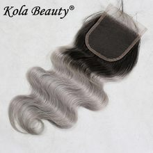 Ombre Siliver Gray Lace Top Closure Free Middle Part Body Wave 4×4″ Brazilian Human Virgin Hair 10A Colored Grey Lace Closure