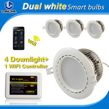 smartphone controlled wifi led downlight 6w ac85-265v dual white (warm/cool white ) cct color temperature adjustable