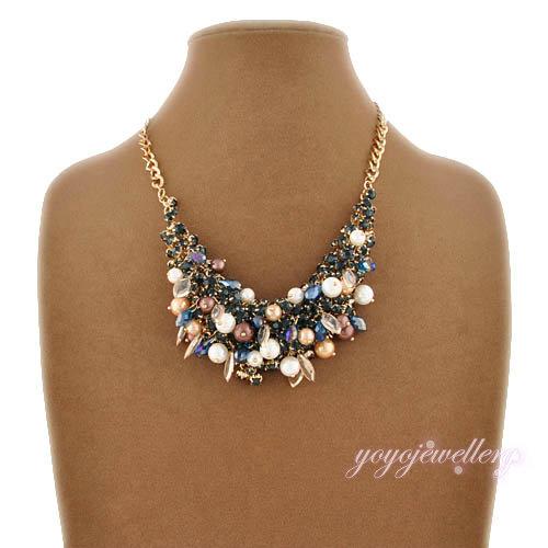 Alta Calidad Chapado En Oro Collar Colgante de Cristal y Joyería de Perlas Grandes Colgante Collar Romántico para Las Mujeres N1091