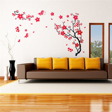 Hot sale!! DIY Red Plum Blossom Flowers Tree Removable Wall Stickers Mural Art Decal Room Background Adhesive Wallpaper