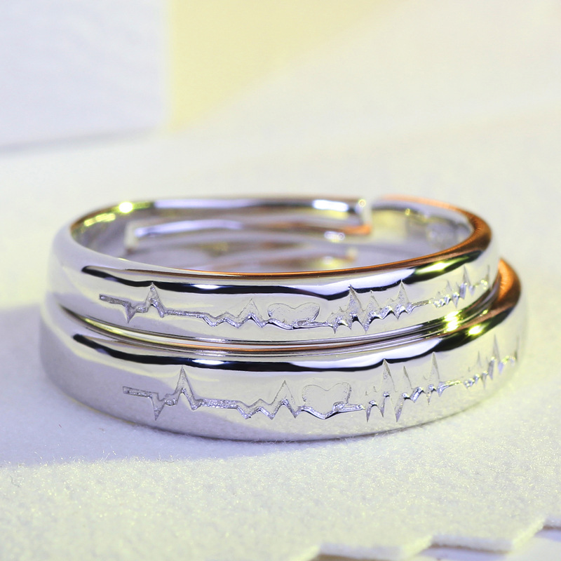 hot bursts of silver 925 korean adjustable ring couple ring on the classic simple men and women jewelry wedding ring set jz30 - Simple Wedding Ring Sets