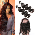 360 Lace Virgin Hair 7A Unprocessed Brazilian Virgin Hair Body Wave 2 Bundles With Lace Frontal 360 Lace Frontal With Bundles