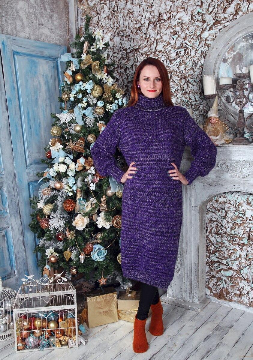 Длинный фиолетовый свитер-платье с Алиэкспресс