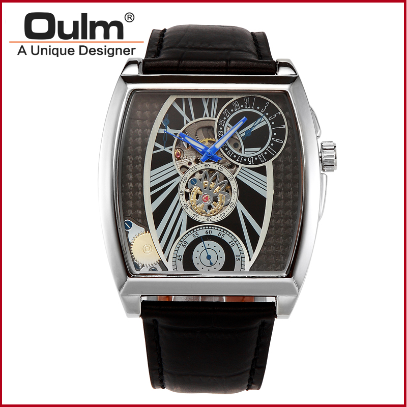 Men watches Big Dial Leather Strap Mechanical Watch Gold silver sport fashion watches