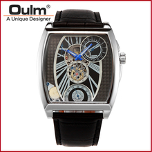 Men watches Big Dial Leather Strap font b Mechanical b font Watch Gold silver sport fashion