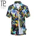 Nova Marca de Verão de Secagem rápida Homens Soltos Camisa Aloha Impressão Festa havaiana Camisas Big Size L-4XL Camisas Da Praia de Praia de Areia # C08