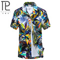 Nueva Marca de Verano de Los Hombres de Secado rápido Suelta Aloha Camisa de Impresión Fiesta hawaiana de Arena de Playa Camisas Tamaño Grande L-4XL Camisas de Playa # C08