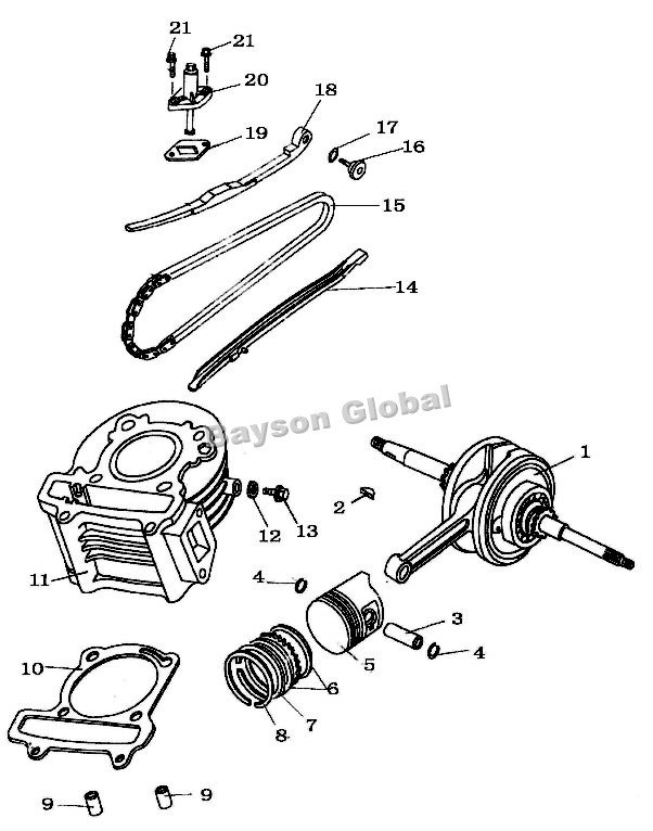 524mm Big Bore Kit Cylinder Head Piston Rings Scooter QMJQMI152 – Diagram Of Scooter Engine