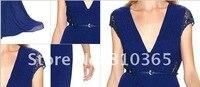 Али горячая распродажа ни капли синий шифоновое с V-bras изделия вечернее платье