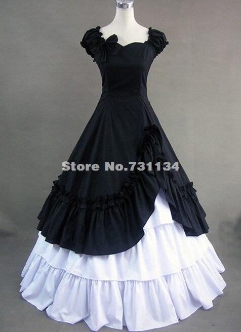 Элегантное черно-белое хлопковое платье в викторианском стиле для Хэллоуина, готический костюм Лолиты, вечерние костюмы