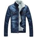 Colarinho homens moda Jeans de qualidade homens JacketsClassic moda Denim Jacket men Casual Único Breasted Jaqueta Jeans