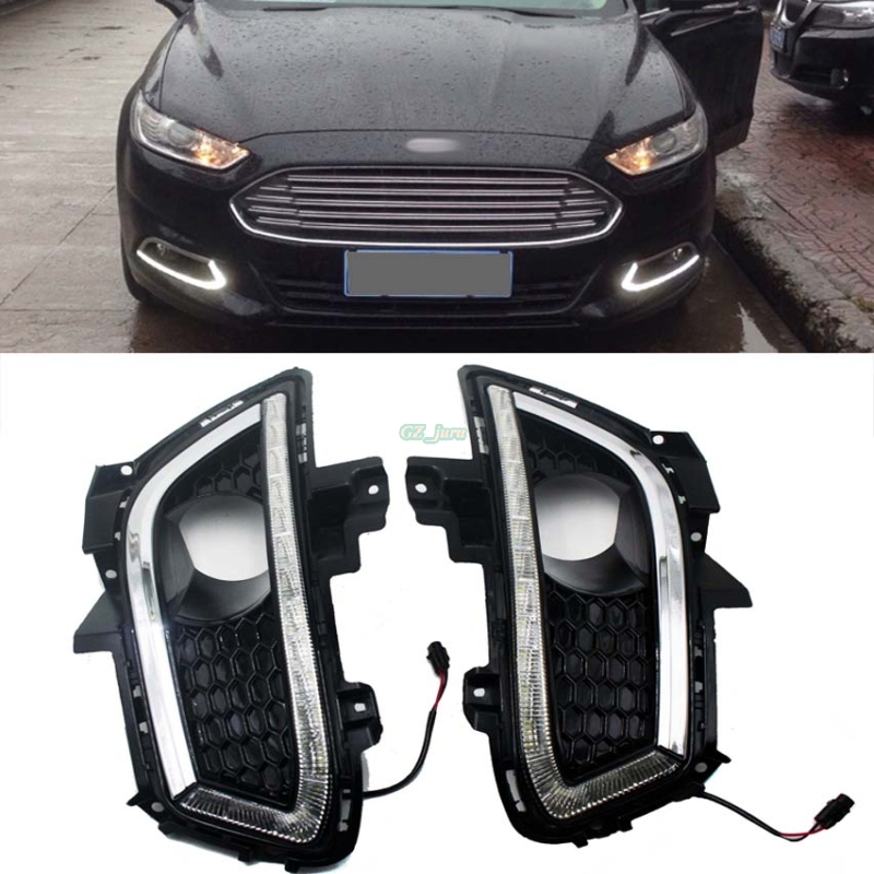 Car styling Fit 2013 2014 2015 2016 Ford Fusion High Power 16-LED Daytime Running Lights DRL Fog Lamps 2pcs eonstime 2pcs 12v car drl led daytime running light fog lights for ford mondeo fusion 2013 2014 2015 2016 car styling