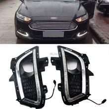 Автомобилей Стайлинг Fit 2013 2014 2015 2016 Ford Fusion высокое Мощность 16-LED Габаритные огни DRL Противотуманные огни 2 шт.