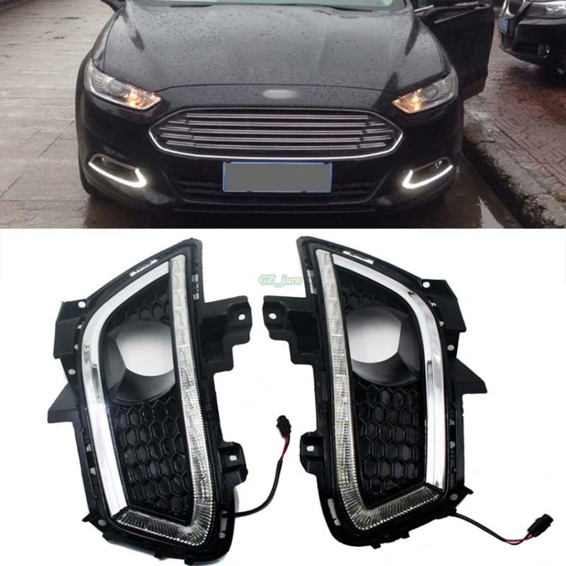 Car styling Fit 2013 2014 2015 2016 Ford Fusion Ad Alta Potenza LED Luci Diurne DRL Fari Fendinebbia 2 pz