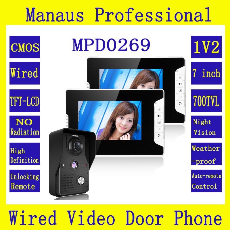 New 7 inch LED Display Video Door Phone System 1 Night Vision Ultra HD Camera 2 Multi-language Monitors Video Intercom Kit D269b