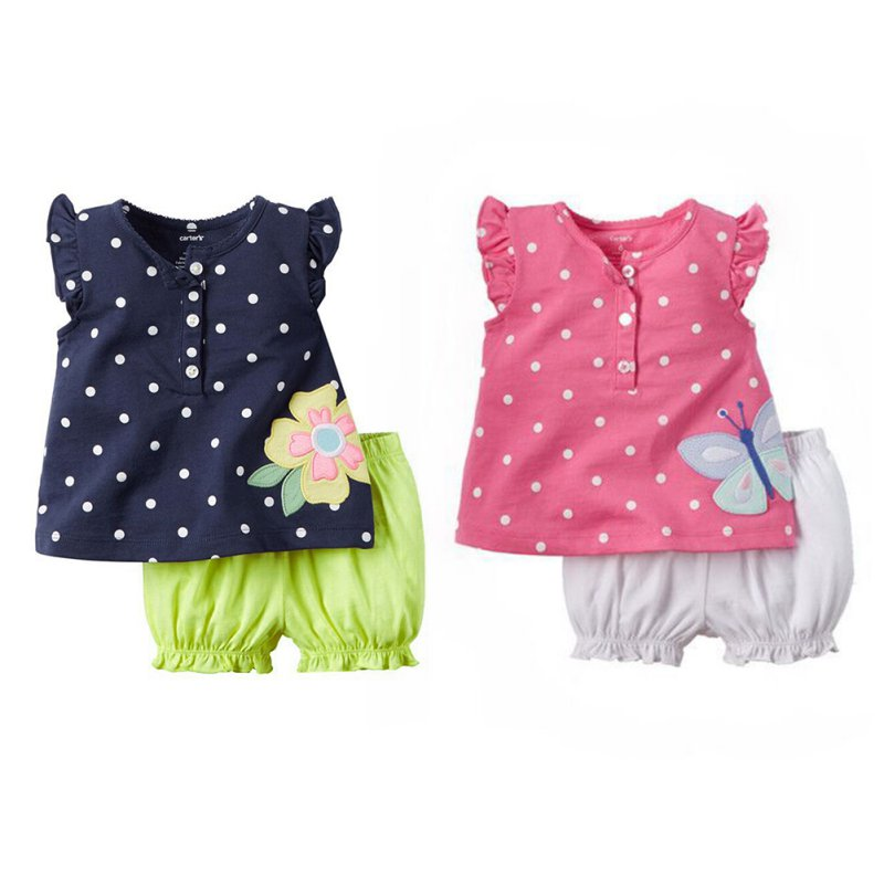 2PCS Set Lovely Kids Girls Outfit Clothes T-shirt Dot Bloomers Pants+Tops Trousers Cotton Blend