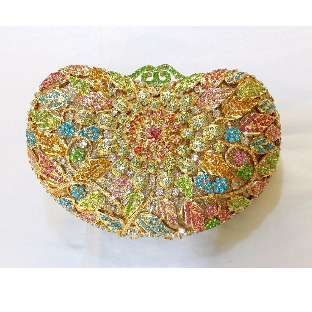 ФОТО 8359B Crystal Floral flower Wedding Bridal Party Night hollow Metal Evening purse clutch bag handbag box case