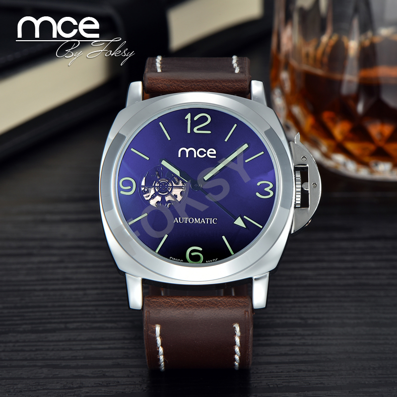 self winding watches men box promotion shop for promotional self mce fashion skeleton military clock leather men casual automatic mechanical self wind wrist watch original gift box 337