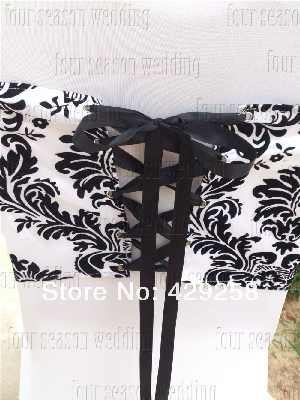 Enjoyable Us 180 0 Free Shipping 100Pcs White And Black Flocking Taffeta Chair Cover Sash Also Call Elegance Damask Corset Chair Sash In Sashes From Home Download Free Architecture Designs Rallybritishbridgeorg