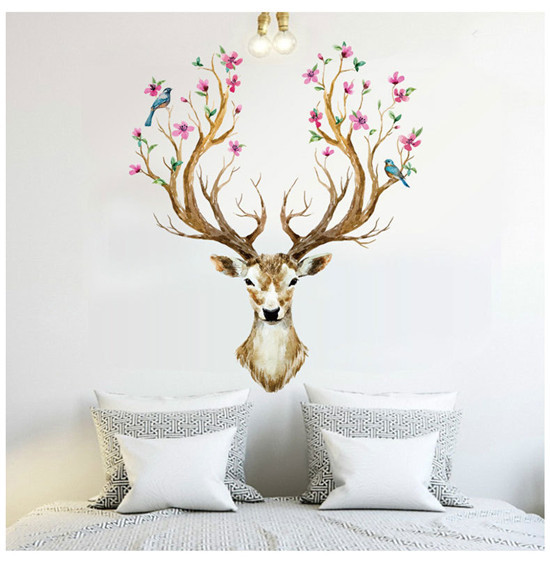 2017 For Wall Cartoon  Promotion Deer Wall Stickers Animal Wallpaper Living Room Home Decoration Children Sticker 60x90cm HF06